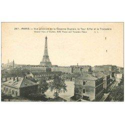 carte postale ancienne PARIS 15. Caserne Dupleix et Tour Eiffel