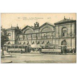 PARIS 15. La Gare avec Tramways Montparnasse-Place de la Bastille
