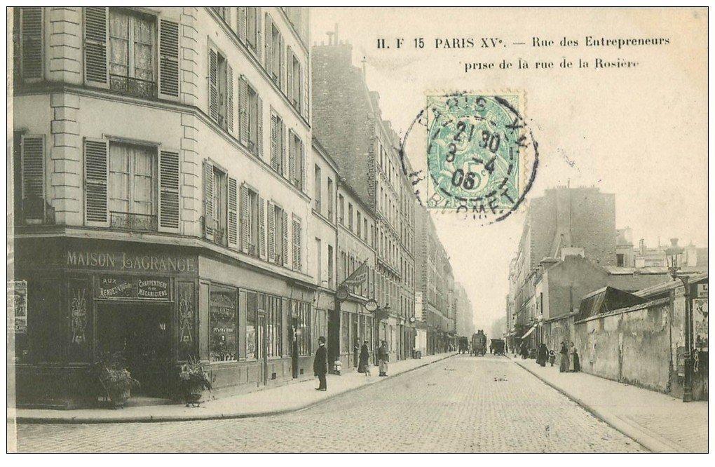 PARIS 15. Lavoir et Maison Lagrange Rue des Entrepreneurs et Rosière 1906