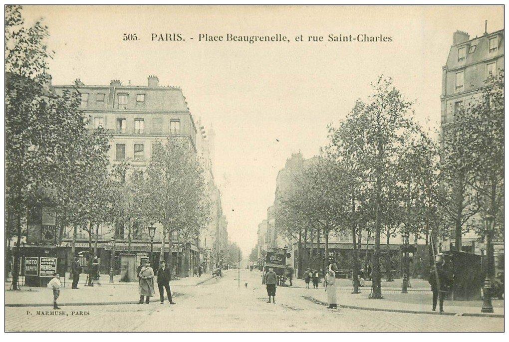PARIS 15. Place Beaugrenelle et rue Saint-Charles 1927. Vespasiennes pub Absinthe oxigénée et Naphta