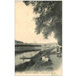 carte postale ancienne 02 CHATEAU-THIERRY. Chemin de la Vignotte animé