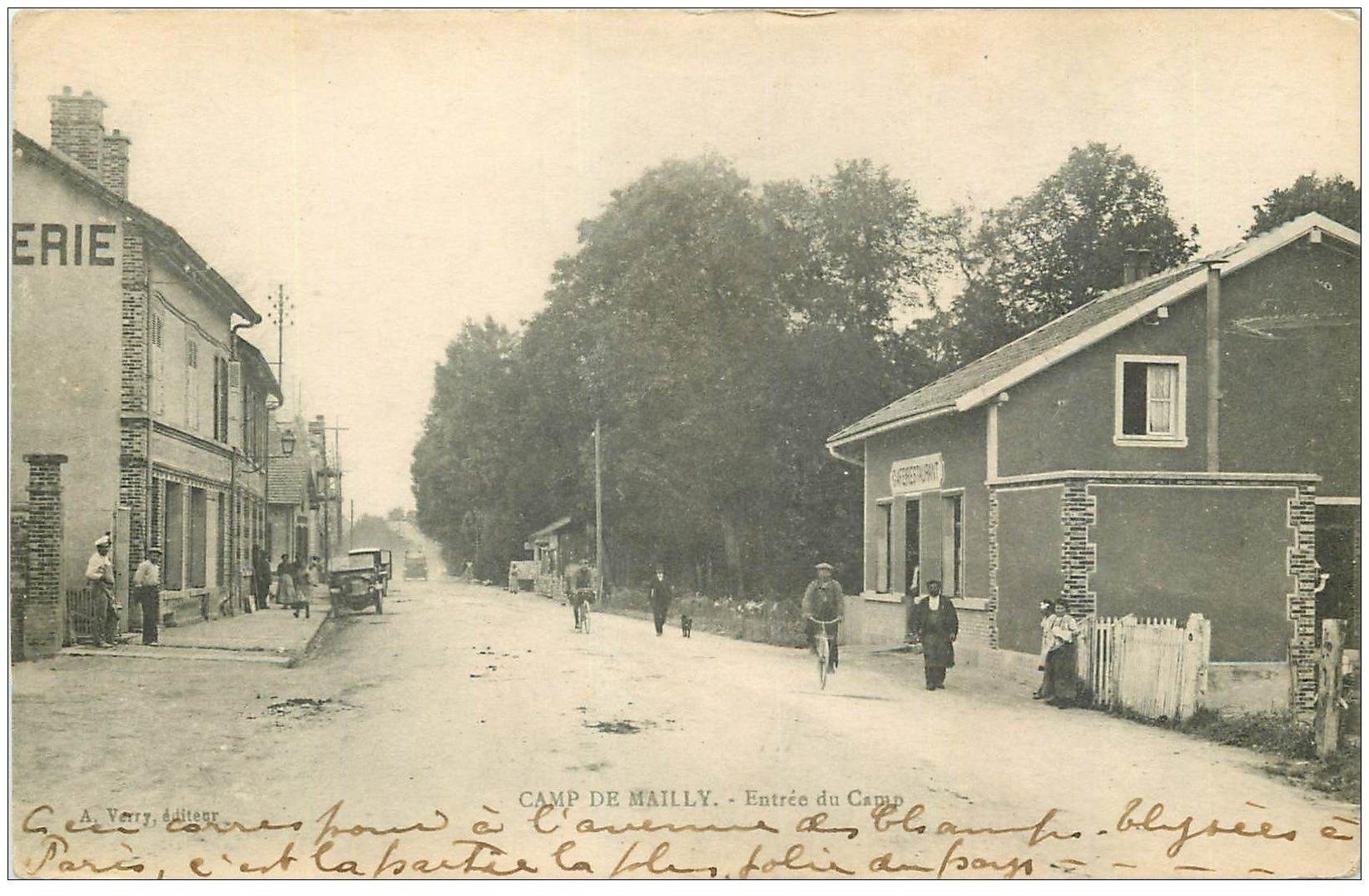 carte postale ancienne 10 MAILLY-LE-CAMP. Café Restaurant à l'Entrée du Camp