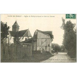 carte postale ancienne 10 MAILLY-LE-CAMP. Eglise Mailly-le-Grand et Café de l'Armée