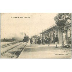 carte postale ancienne 10 MAILLY-LE-CAMP. La Gare Train et Locomotive à vapeur