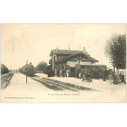 carte postale ancienne 10 MAILLY-LE-CAMP. La Gare Train et Locomotive à vapeur. Carte Pionnière