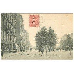 carte postale ancienne PARIS 15. Rue des Entrepeneurs et rue Linois 1906