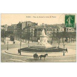 carte postale ancienne PARIS 15. Statue Pasteur Place de Breteuil 1912