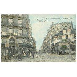 carte postale ancienne PARIS 16. Alimentation Maison Besnault rue de Passy et de la Tour