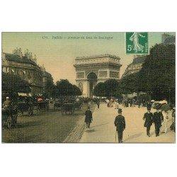 carte postale ancienne PARIS 16. Avenue du Bois de Boulogne. Carte Toilée adressée à Fillon