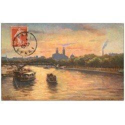 carte postale ancienne PARIS 16. Bateau Mouche Trocadéro 1907. Raphaël Tuck. Plissure...