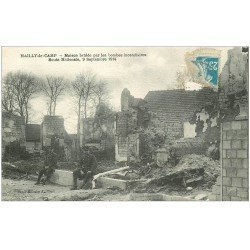 carte postale ancienne 10 MAILLY-LE-CAMP. Maison brûlée Route Nationale 1922