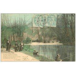 carte postale ancienne PARIS 16. Bois de Boulogne. Femme Pêcheuse. Plaisirs du Dimanche 1906