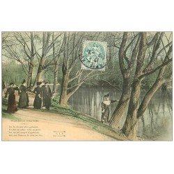 carte postale ancienne PARIS 16. Bois de Boulogne. Femme se reposant. Plaisirs du Dimanche 1906
