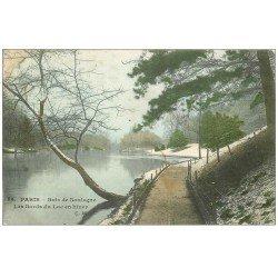 carte postale ancienne PARIS 16. Bois de Boulogne. Lac en Hiver 1906