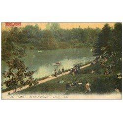 carte postale ancienne PARIS 16. Bois de Boulogne. Le Lac 1910