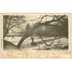 carte postale ancienne PARIS 16. Bois de Boulogne. Le Lac gelé en Hiver 1906