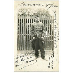 carte postale ancienne 10 MAILLY-LE-CAMP. Rare Carte Photo d'un Soldat Militaire 1911