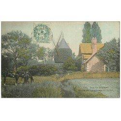 carte postale ancienne PARIS 16. Bois de Boulogne. Moulin de Longchamp et Chevaux sellés 1905