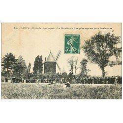 carte postale ancienne PARIS 16. Bois de Boulogne. Moulin Longchamps jour de Course