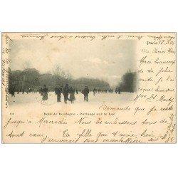 carte postale ancienne PARIS 16. Bois de Boulogne. Patinage sur Lac 1904