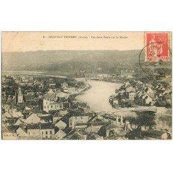 carte postale ancienne 02 CHATEAU-THIERRY. Deux Ponts sur Marne 1935