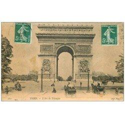 carte postale ancienne PARIS 17. Arc de Triomphe de l'Etoile 1908