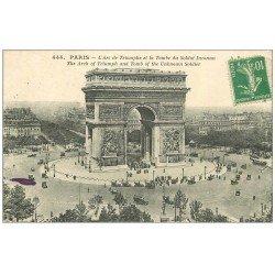 carte postale ancienne PARIS 17. Arc de Triomphe de l'Etoile 1923