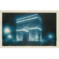carte postale ancienne PARIS 17. Arc de Triomphe de l'Etoile illuminations Jacopozzi 1931