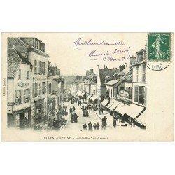 carte postale ancienne 10 NOGENT-SUR-SEINE. Café Merlin Grande-Rue Saint-Laurent 1908