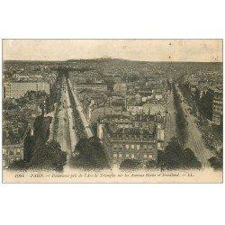 carte postale ancienne PARIS 17. Avenues Hoche et Friedland 1918