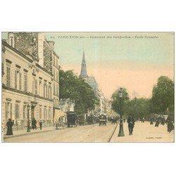 carte postale ancienne PARIS 17. Ecole Normale Boulevard des Batignolles