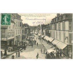 carte postale ancienne 10 NOGENT-SUR-SEINE. Grande Rue Saint-Laurent 1908. Rémouleur et Café Merlin