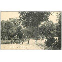 carte postale ancienne PARIS 17. Joueurs de billes Square des Batignolles