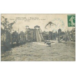 carte postale ancienne PARIS 17. Luna Park Water Chute. Arrivée d'un bateau sur le Lac 1909