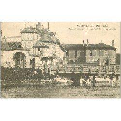carte postale ancienne 10 NOGENT-SUR-SEINE. Laiterie, Pont Vert et Maison Henri IV 1906