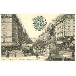 carte postale ancienne PARIS 17. Statue Lavoisier Rue Tronchet 1907 Bus à Impériale