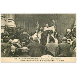 carte postale ancienne PARIS 18. Bénédiction de Paris Basilique Sacré-Coeur