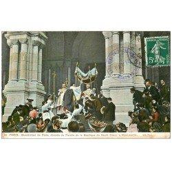 carte postale ancienne PARIS 18. Bénédiction de Paris Basilique Sacré-Coeur 1909