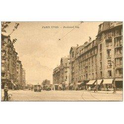 carte postale ancienne PARIS 18. Boulevard Ney Camions et Autobus