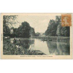 carte postale ancienne 10 NOGENT-SUR-SEINE. Le Passeur en barge sur la Seine à Jolainville