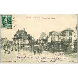 carte postale ancienne 10 NOGENT-SUR-SEINE. Les Chalets Rue de la Gare 1908