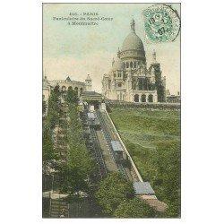 carte postale ancienne PARIS 18. Le Sacré-Coeur de Montmartre en rénovation et Funiculaire 1907