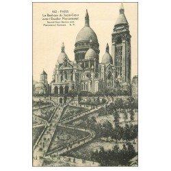 carte postale ancienne PARIS 18. Le Sacré-Coeur de Montmartre 1931