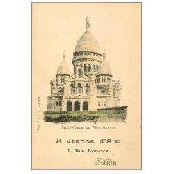 carte postale ancienne PARIS 18. Le Sacré-Coeur de Montmartre à Jeanne d'Arc 1 rue Lamarck