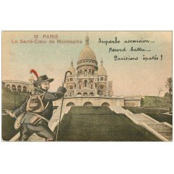carte postale ancienne PARIS 18. Le Sacré-Coeur de Montmartre ascension