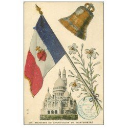 carte postale ancienne PARIS 18. Le Sacré-Coeur de Montmartre Drapeau et Cloche