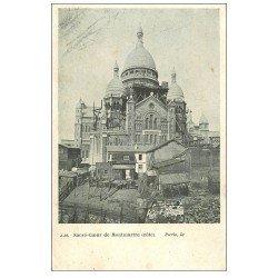 carte postale ancienne PARIS 18. Le Sacré-Coeur de Montmartre échaffaudage