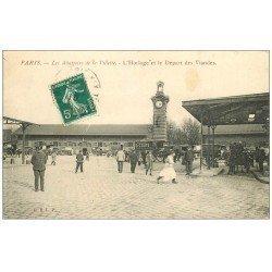 carte postale ancienne PARIS 19. Abattoirs de la Villette Horloge et Départ des Viandes 1910