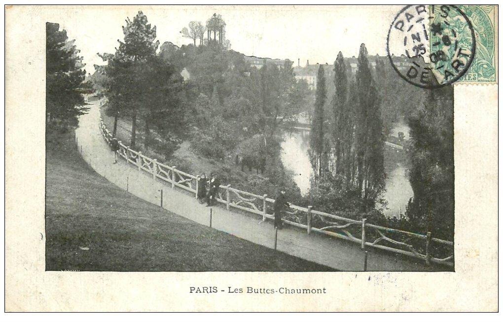 Carte Buttes Chaumont.Paris 19 Buttes Chaumont 1906