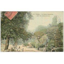 carte postale ancienne PARIS 19. Buttes Chaumont. Allée ceinture du Lac 1906